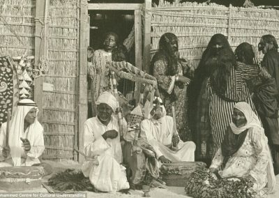 Bedouins playing traditional music at a market.